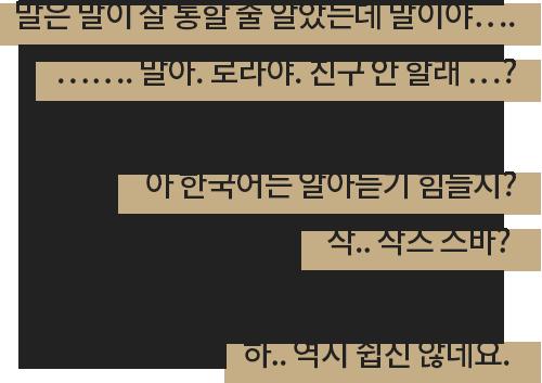 말은 말이 잘 통할 줄 알았는데 말이야…. ……. 말아. 로라야. 친구 안 할래 …? 아 한국어는 알아듣기 힘들지? 작.. 작즈 스바? 하.. 역시 쉽진 않네요.