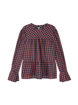 Round Neck Shirring Check Blouse