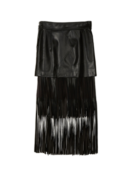 Fringe Fake Leather Skirt