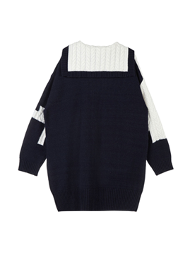 Colorblock Cable Knit Dress