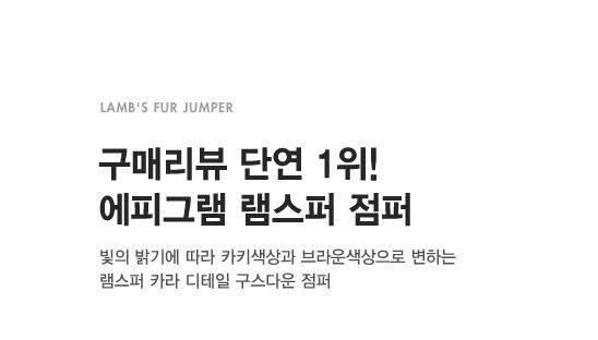 LAMB'S FUR JUMPER                      구매리뷰 단연 1위! 에피그램 램스퍼 점퍼                      빛의 밝기에 따라 카키색상과 브라운색상으로 변하는 램스퍼 카라 디테일 구스다운 점퍼