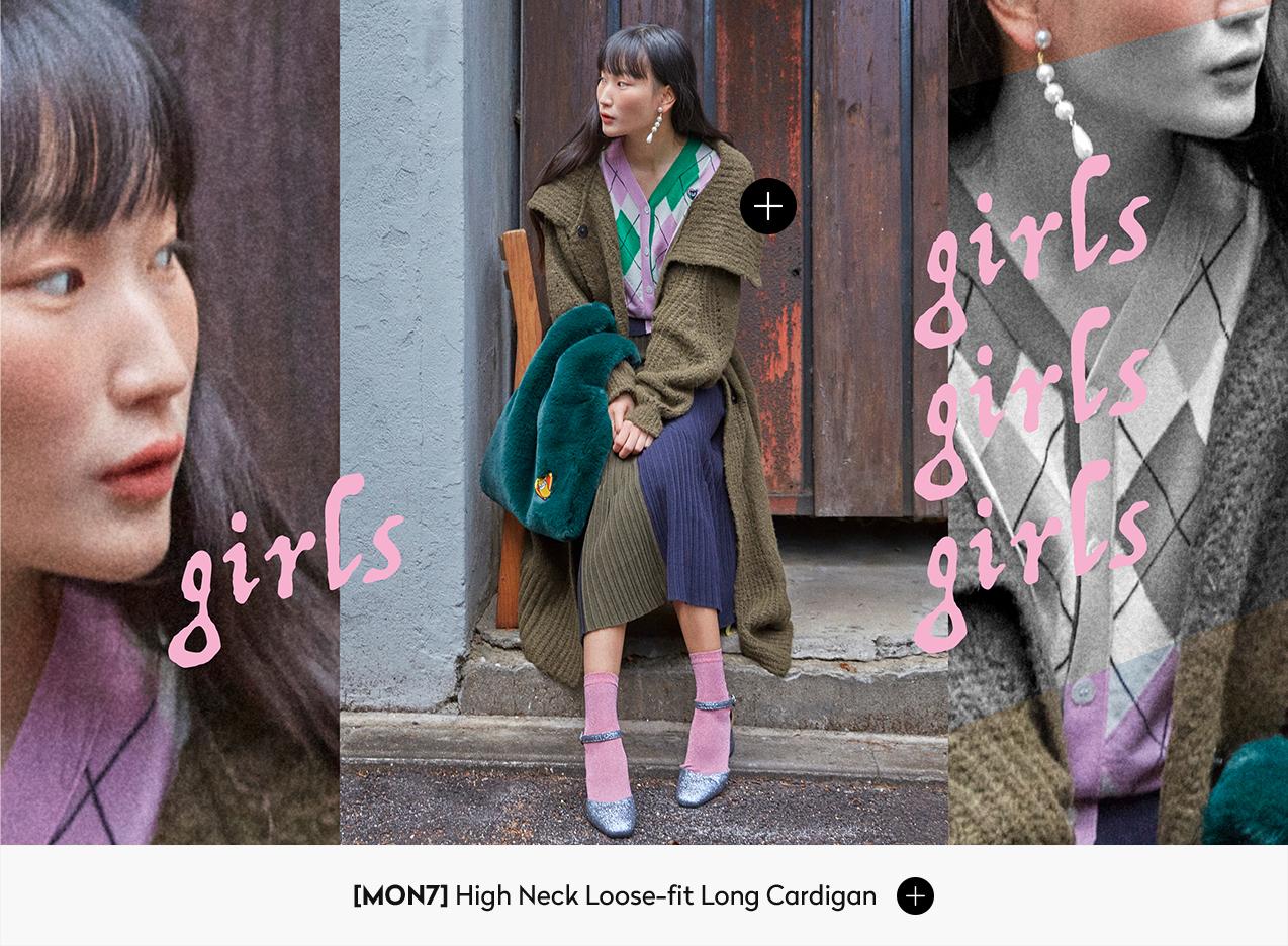 [MON7] High Neck Loose-fit Long Cardigan