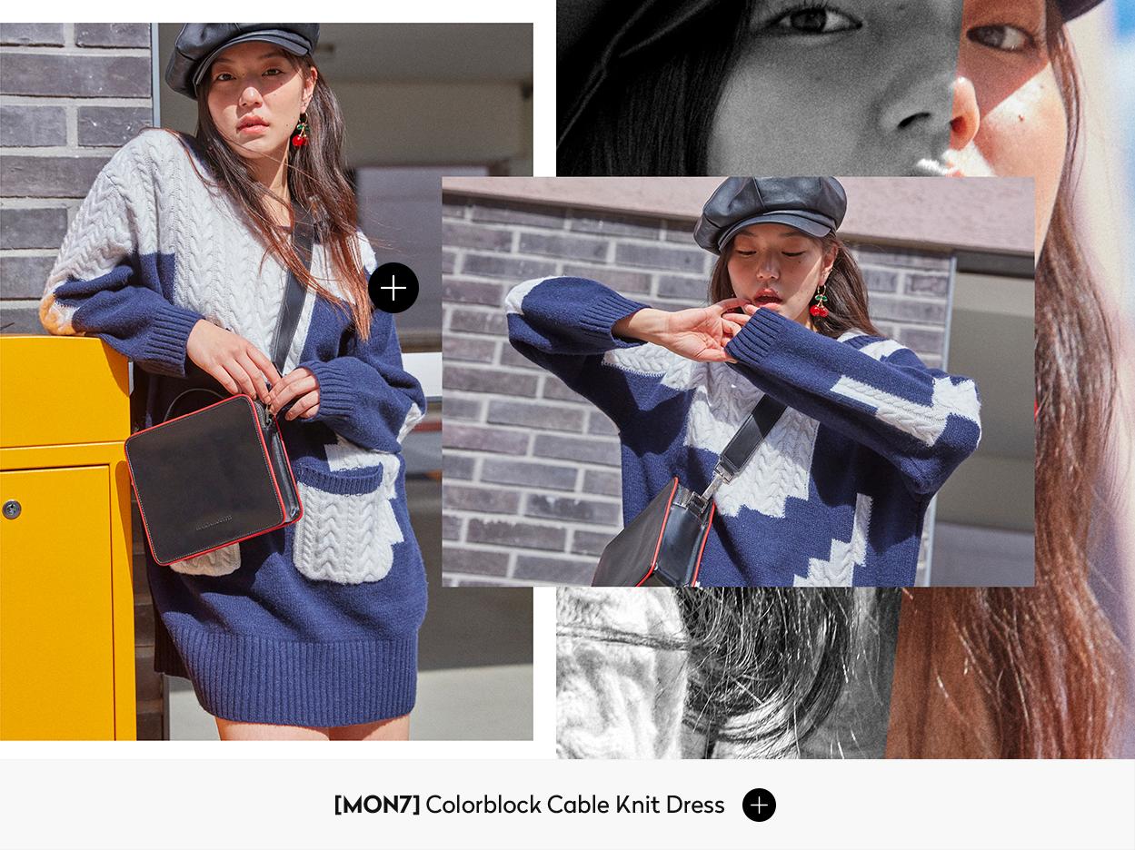 [MON7] Colorblock Cable Knit Dress